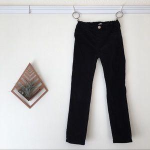 H&M black velour cotton pull-on pants
